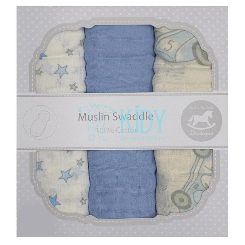 BLUE set: 3 muslin swaddles