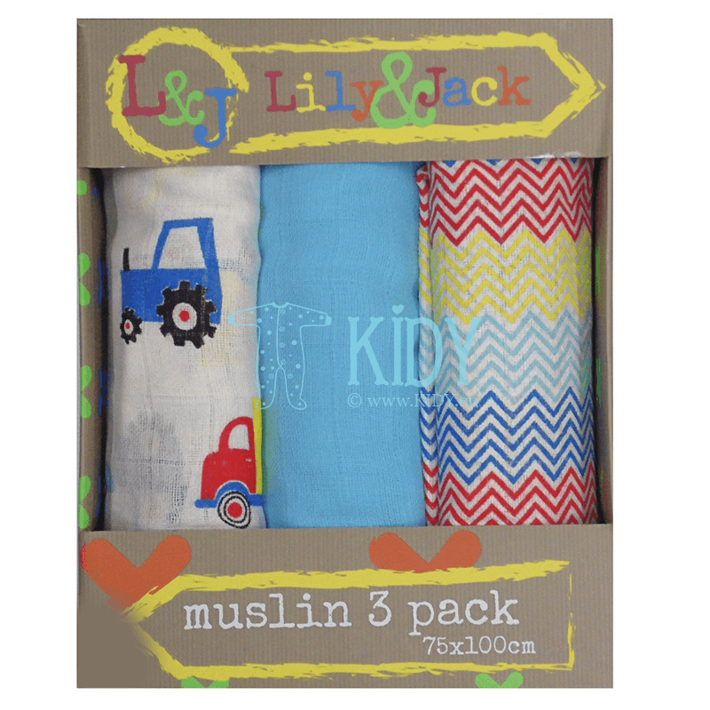 TRACTOR set: 3 muslin swaddles (Lily & Jack)
