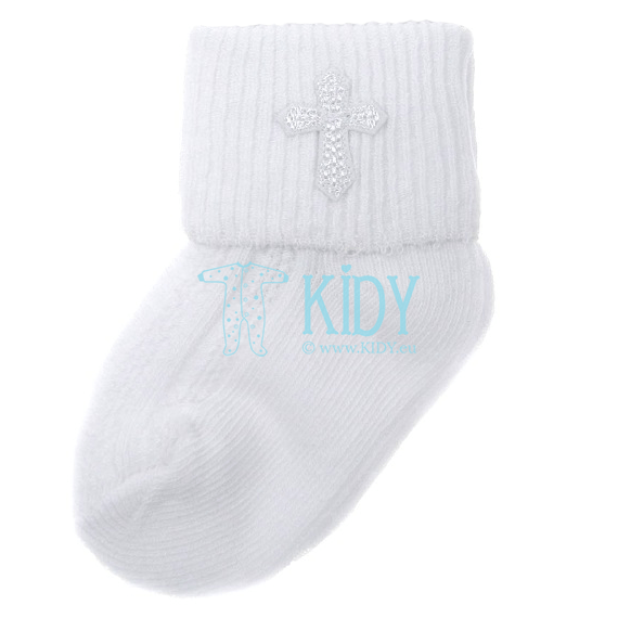 White cross embroidered socks