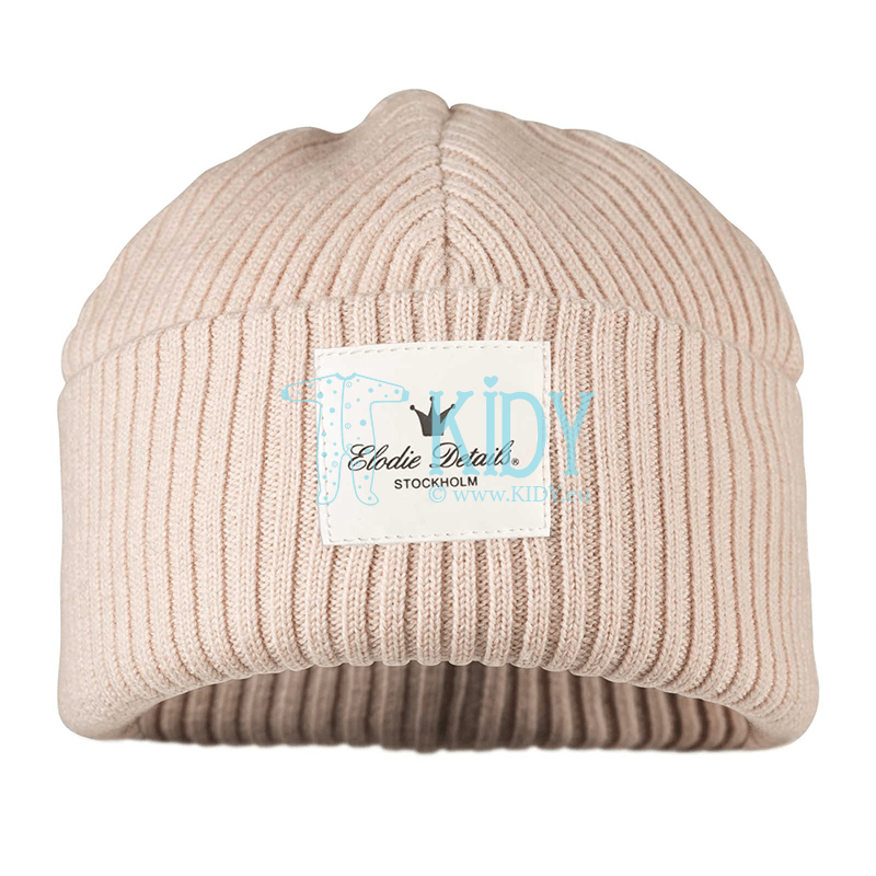 Knitted merino wool POWDER PINK cap