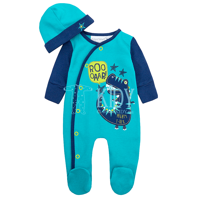 Blue DINO sleepsuit with hat