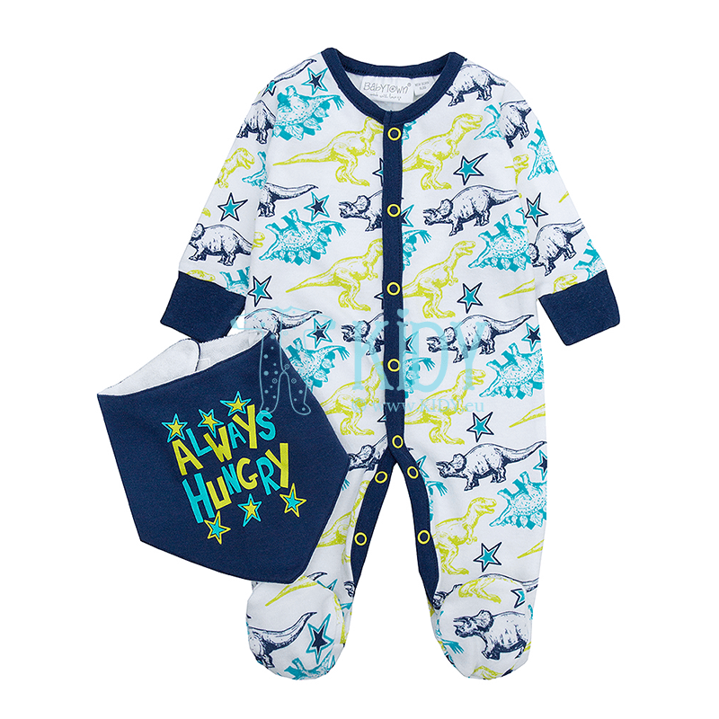 Blue DINO sleepsuit with bib