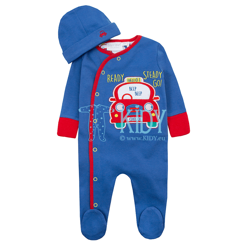 Blue CARS sleepsuit with hat