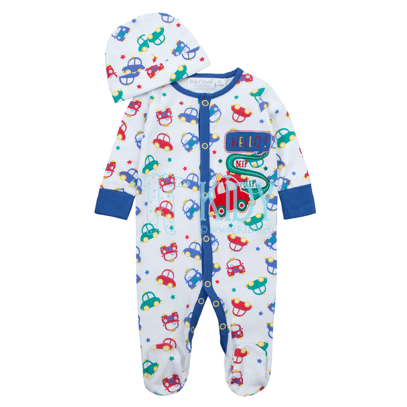 White CARS sleepsuit with hat
