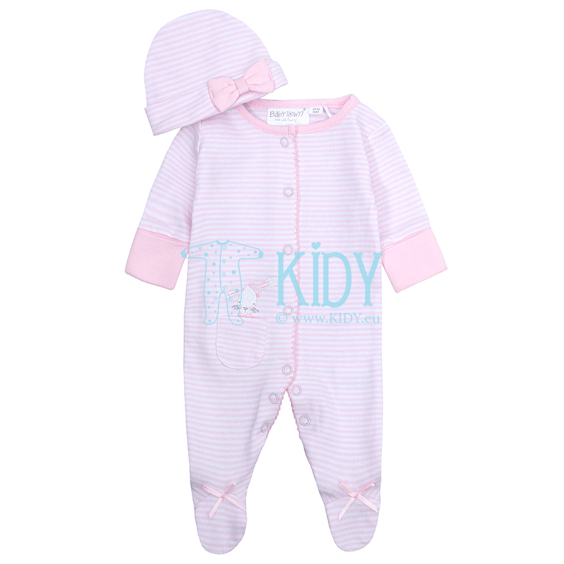 Pink BUNNY sleepsuit with hat