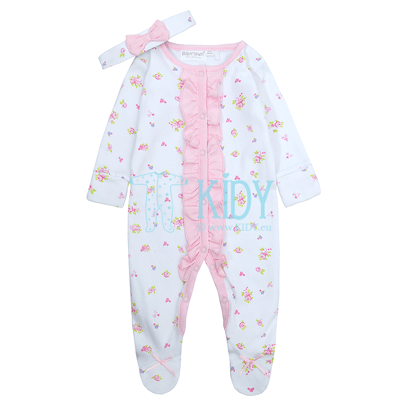 Pink BUNNY sleepsuit with headband