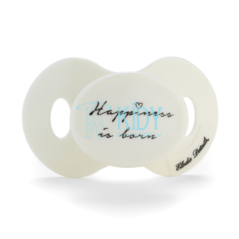 White HAPPINESS IS BORN pacifier