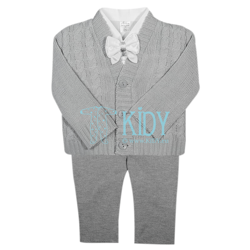 3pcs grey ARTEX set with cardigan