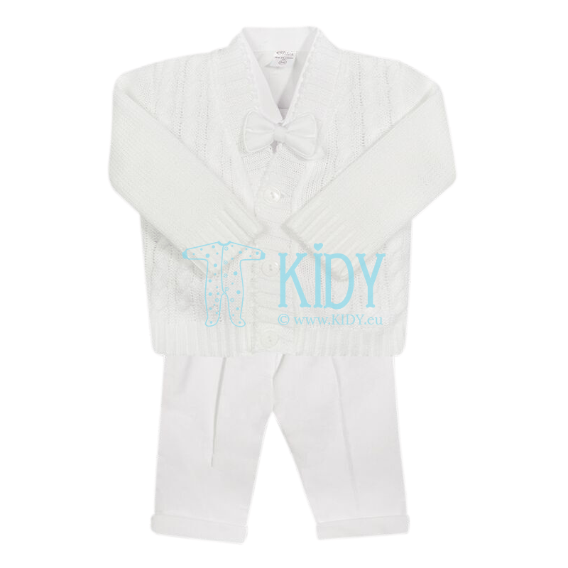 3pcs white ARTEX set with cardigan