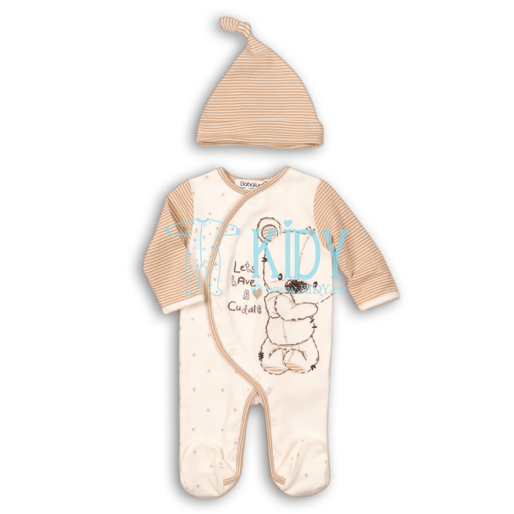 Beige CUDDLE sleepsuit with hat