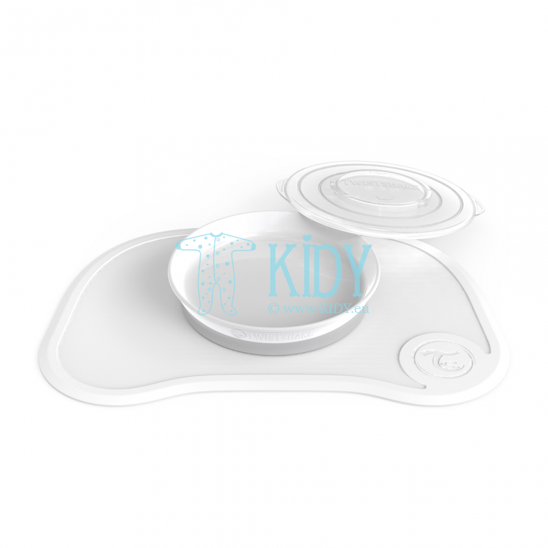White plate with click mat