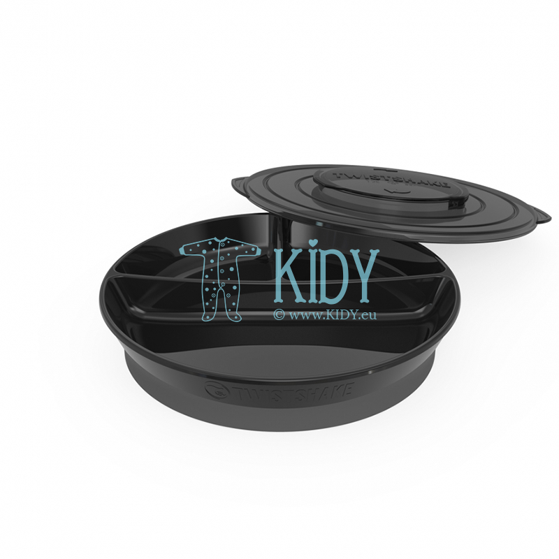 Divided BLACK plate with lid