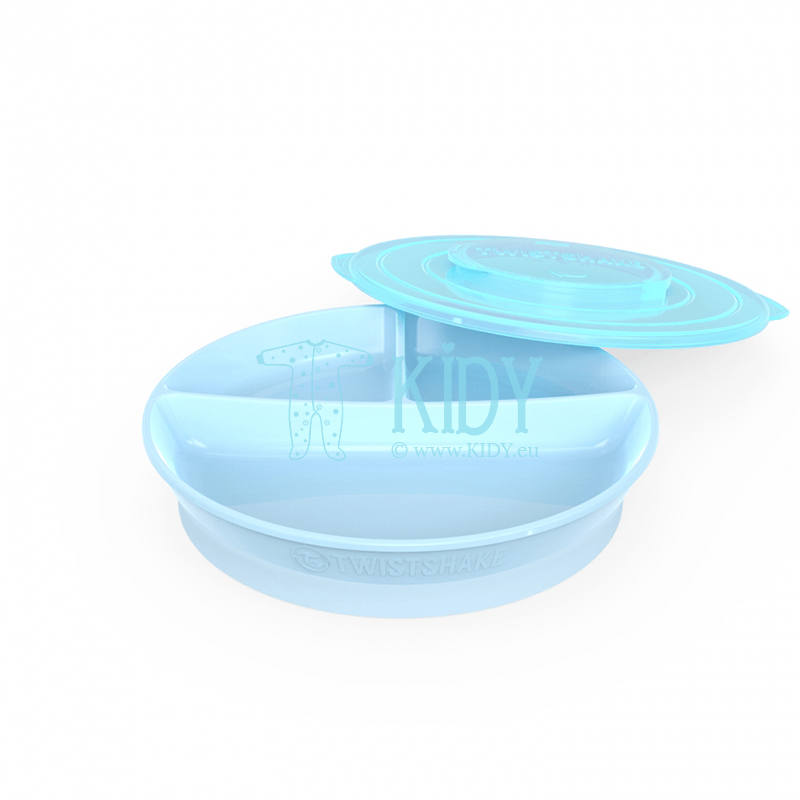Divided BABY BLUE plate with lid