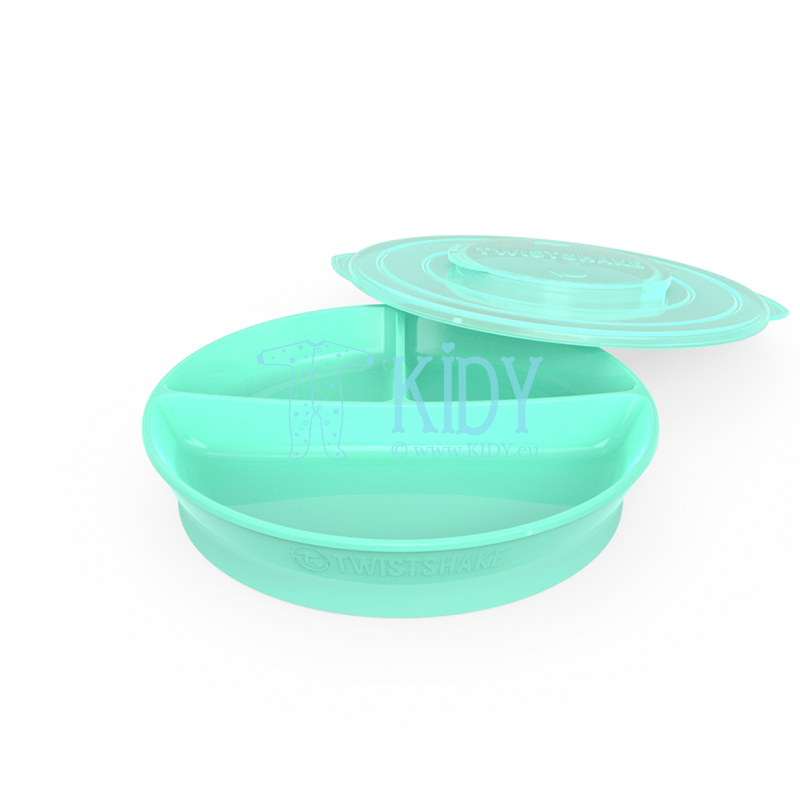 Divided MINT GREEN plate with lid