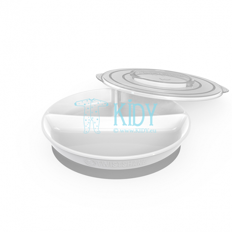 Divided WHITE plate with lid