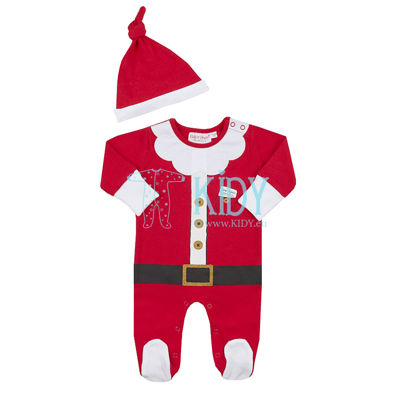 Red BABY CHRISTMAS sleepsuit with hat