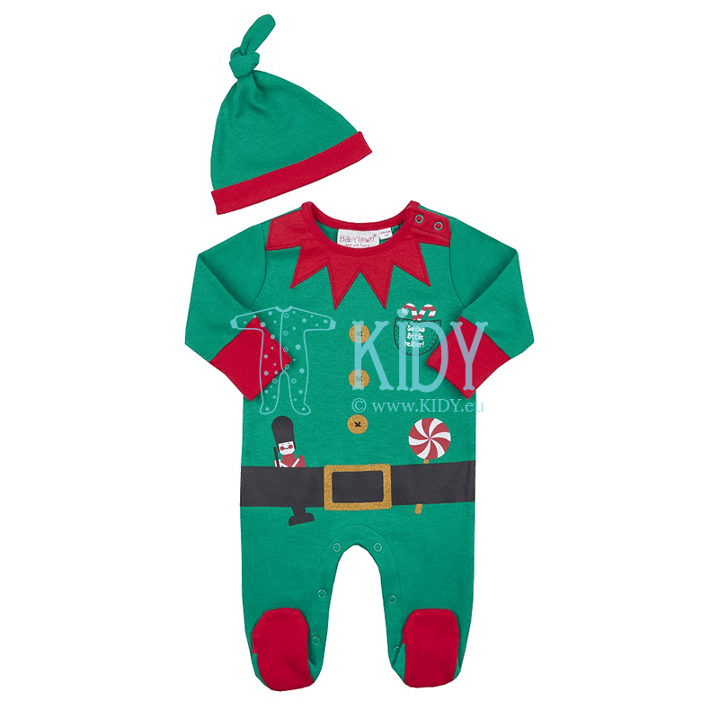 Green BABY CHRISTMAS sleepsuit with hat