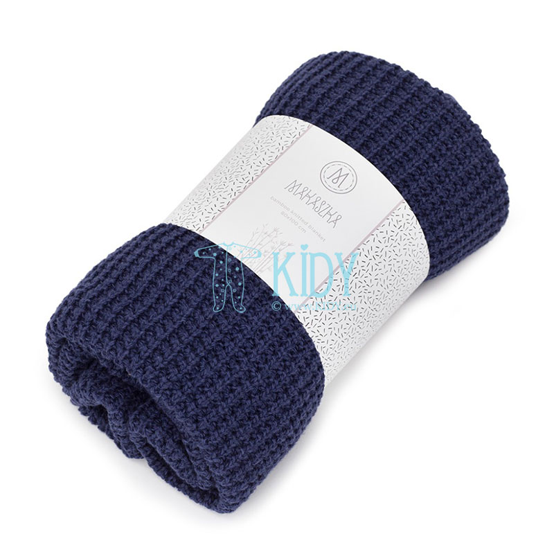 Navy Bambus knitted plaid