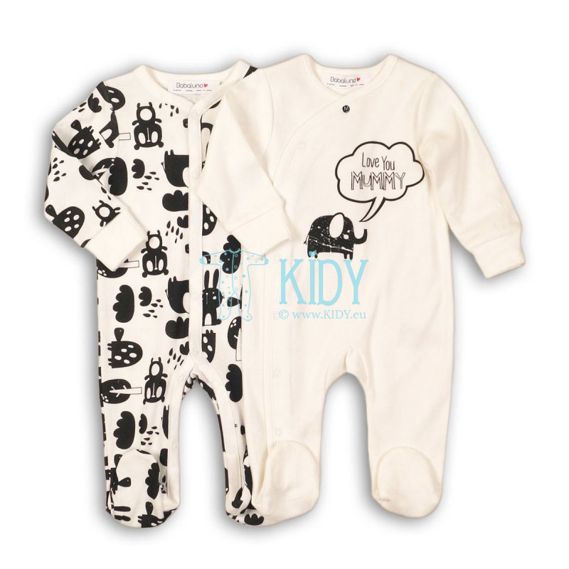 ANIMAL set: 2 sleepsuits