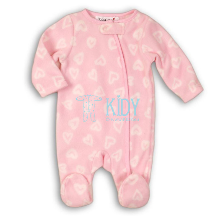 Pink microfleece SHINE sleepsuit