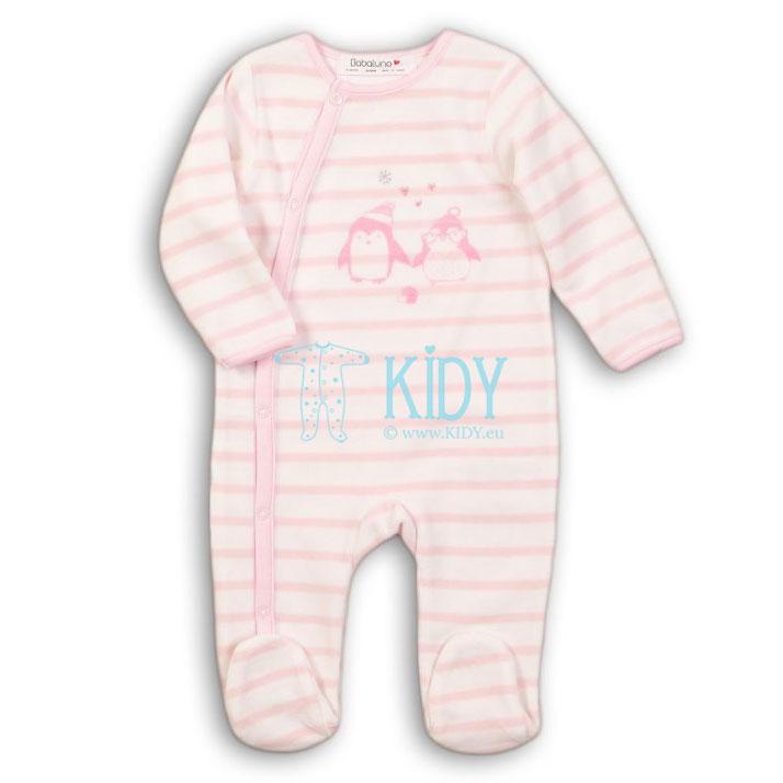 Rožinis veliūrinis kombinezonas-pižama PENGUIN