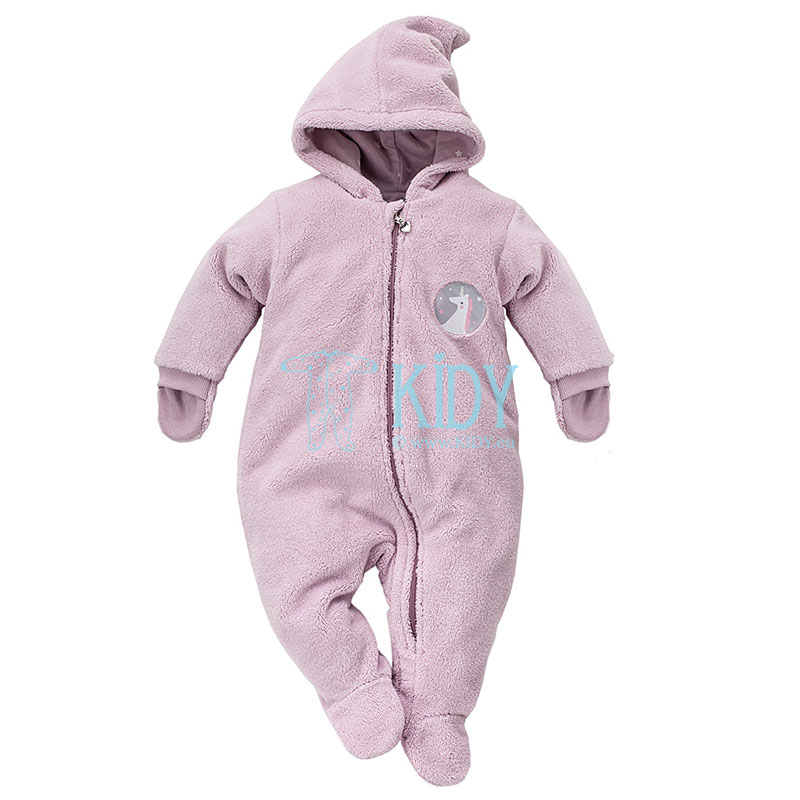 Pink UNICORN snowsuit with mitts