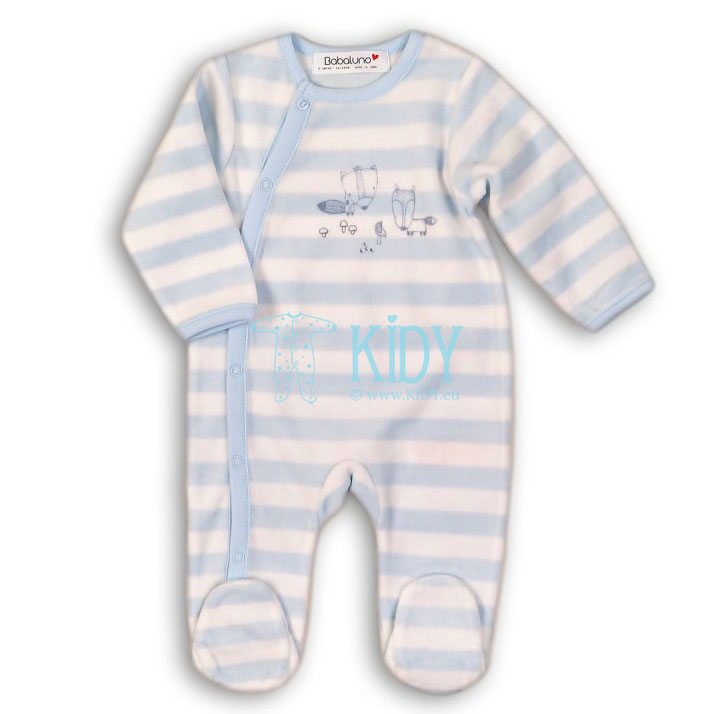 Blue velour FISHING sleepsuit