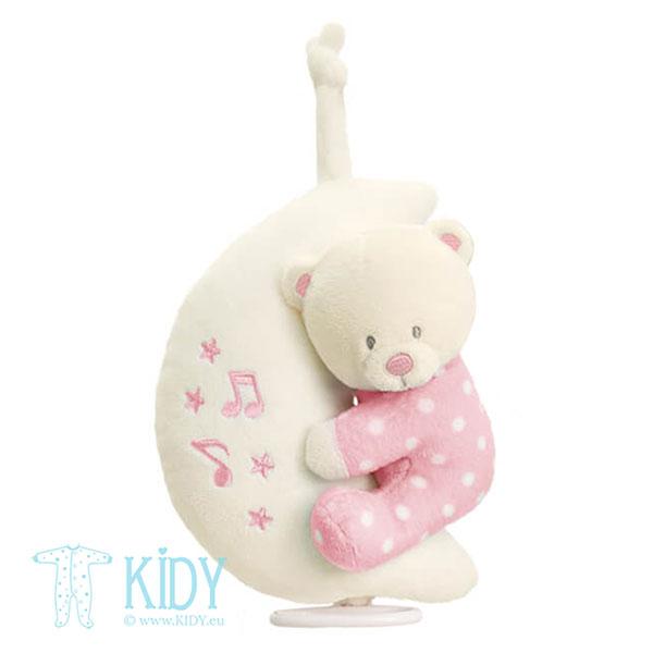Rožinis muzikinis žaislas Bear on Moon (Keel Toys)