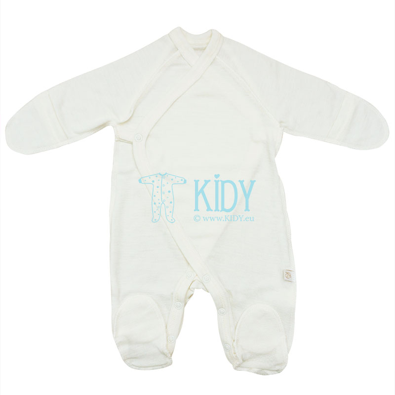 Creamy merino wool LAMB sleepsuit with outside seams (Lorita)