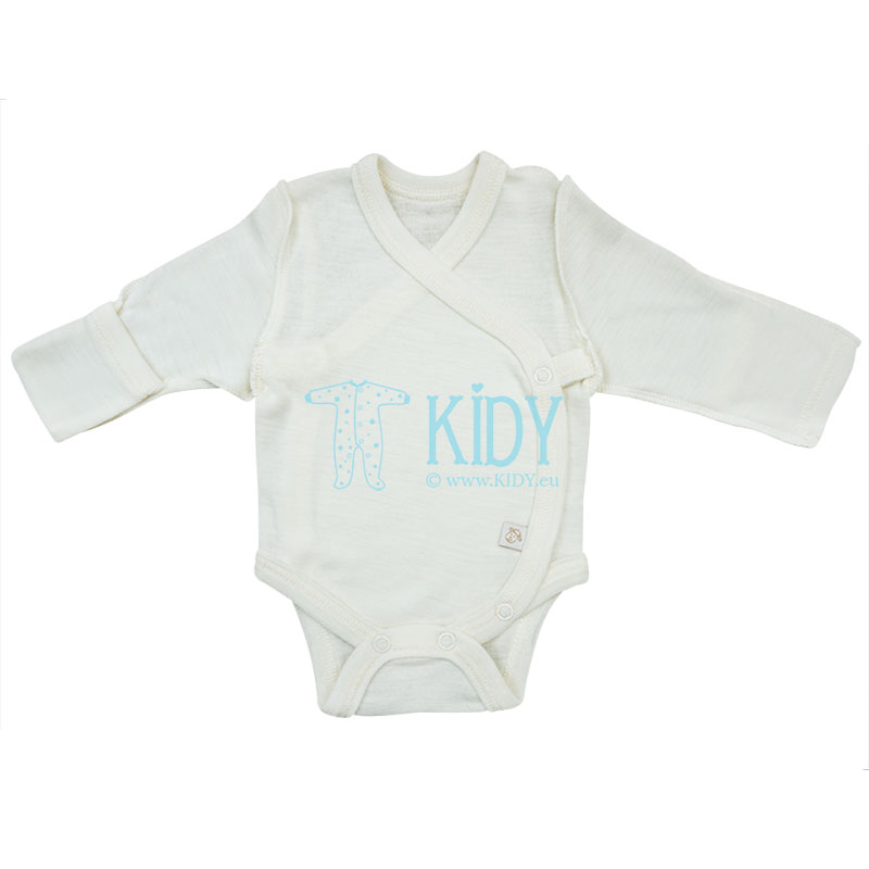 Creamy merino wool LAMB bodysuit with outside seams