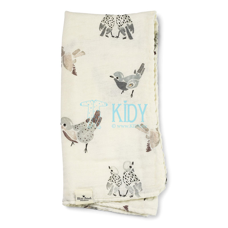 Bamboo muslin FEATHERED FRIENDS blanket