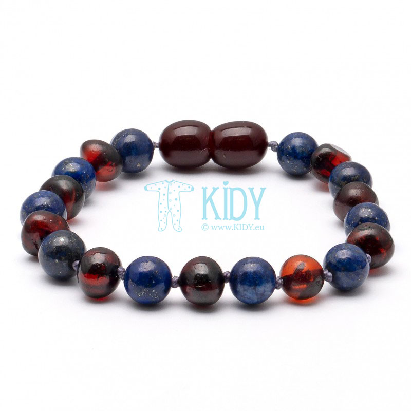 Amber MULTI teething bracelet with lapis lazuli