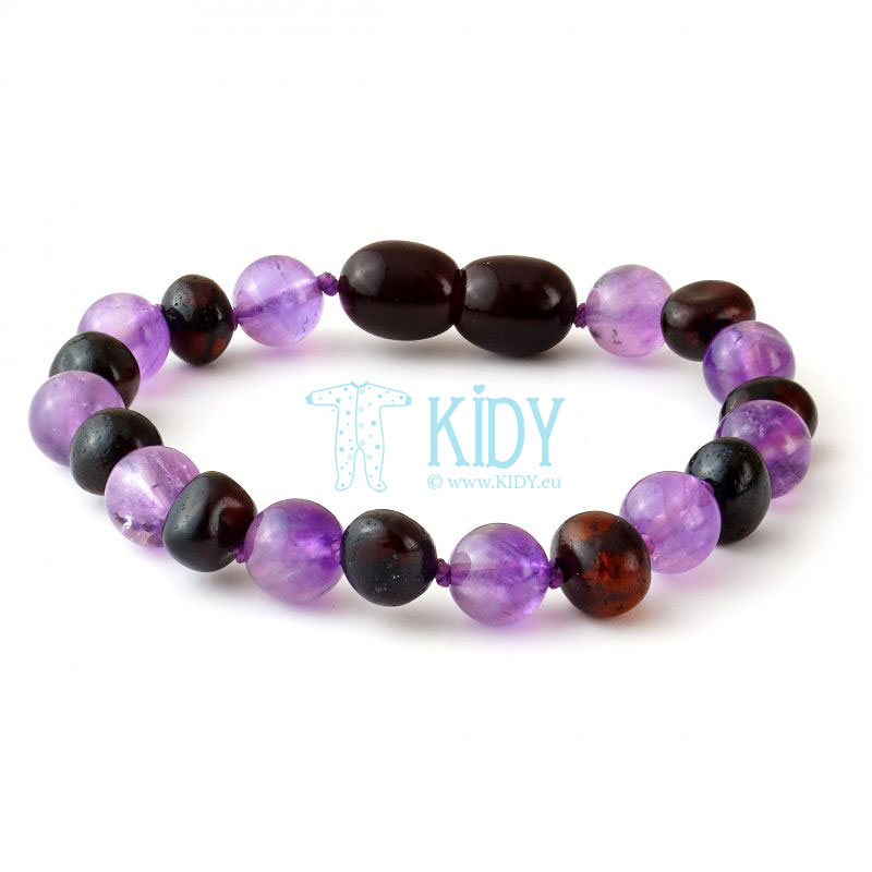 Amber MULTI teething bracelet with amethyst (Baltic Amber)