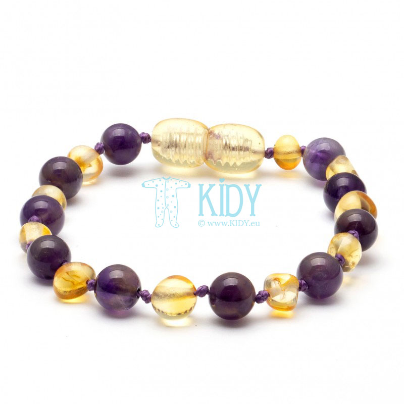 Amber MULTI teething bracelet with amethyst