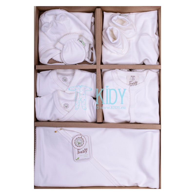 9 pcs ORGANIC set with white embroidery