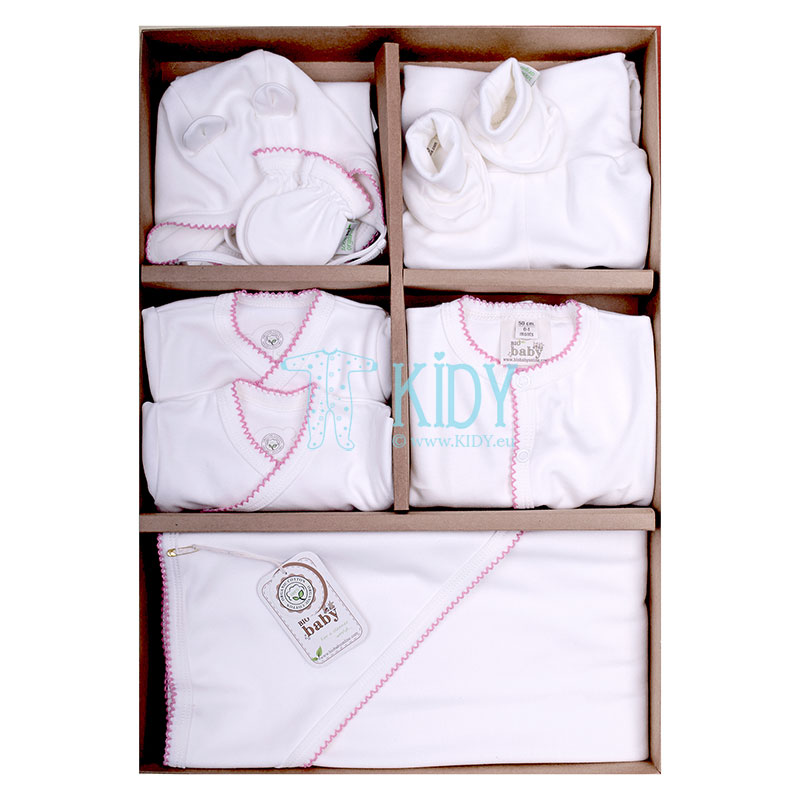 9 pcs ORGANIC white layette with pink embroidery (BIO Baby)