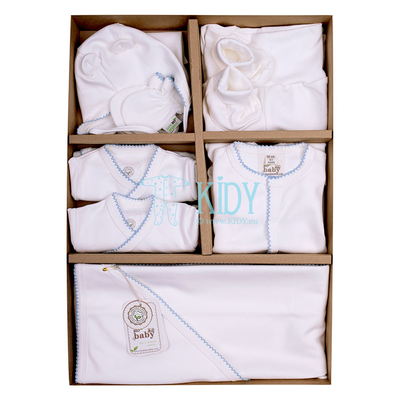 9 pcs ORGANIC white baby layette with blue embroidery