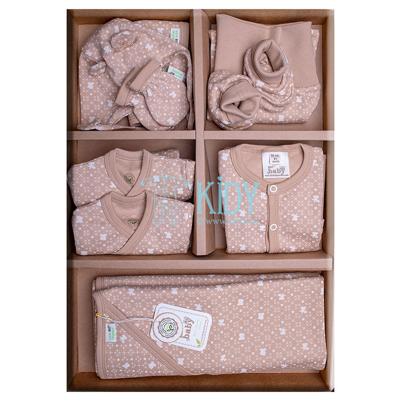 9 pcs brown ORGANIC unisex baby layette set for newborns