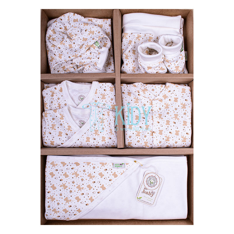 9 pcs beige ORGANIC set for newborns