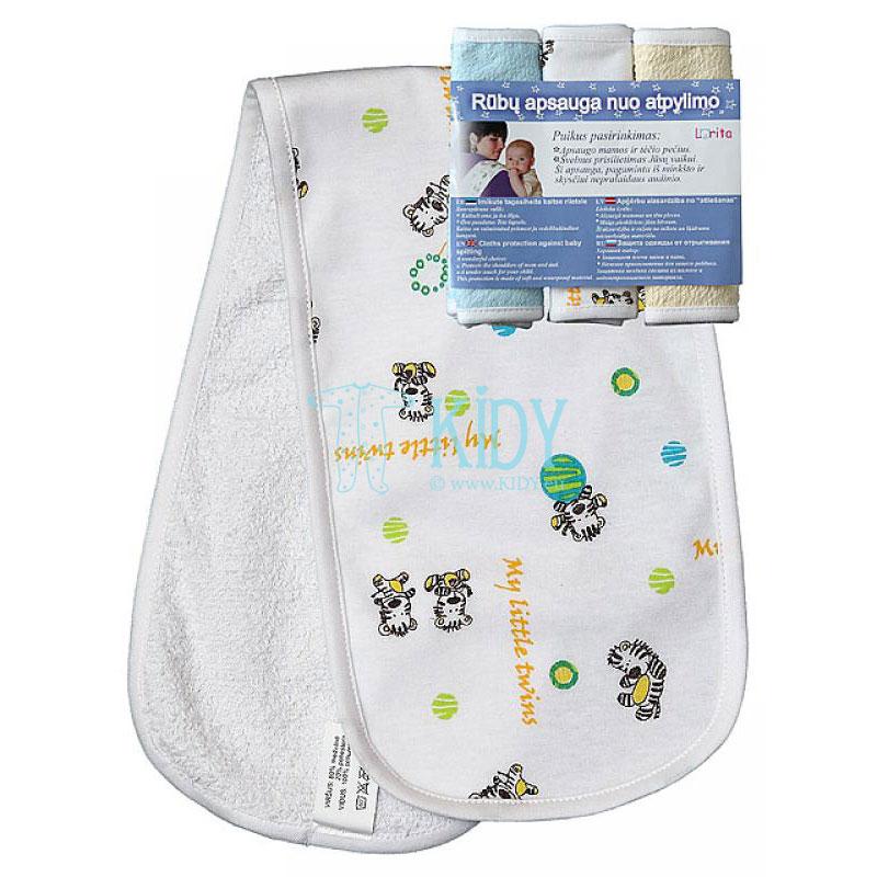 Komplektas mamoms: 3 neperšlampantys paklotėliai atpylimui, apsaugantys drabužius