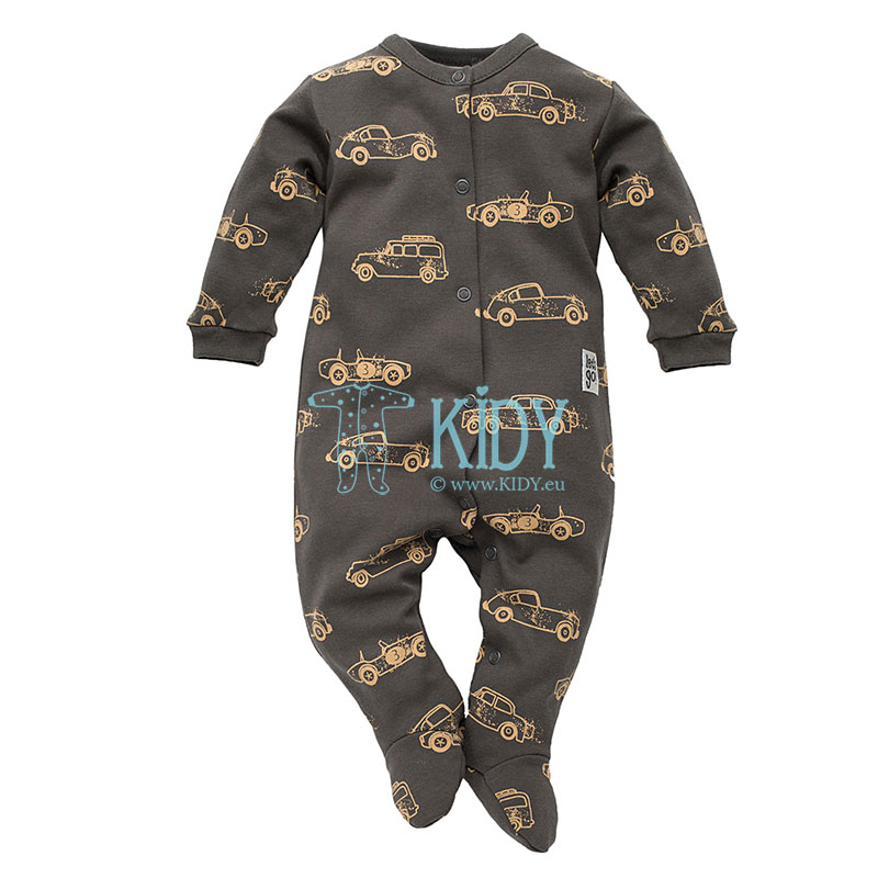 Brown OLD CARS sleepsuit