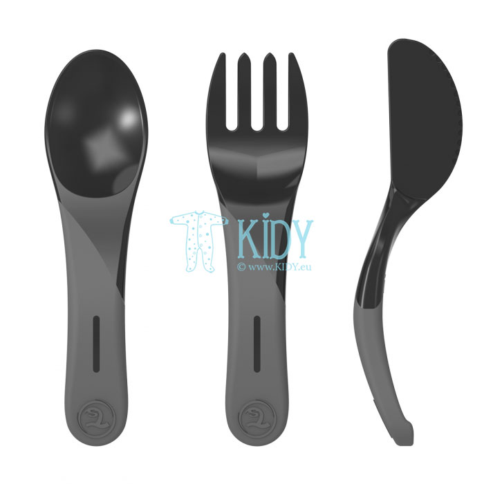 3pcs black LEARN CUTLERY set