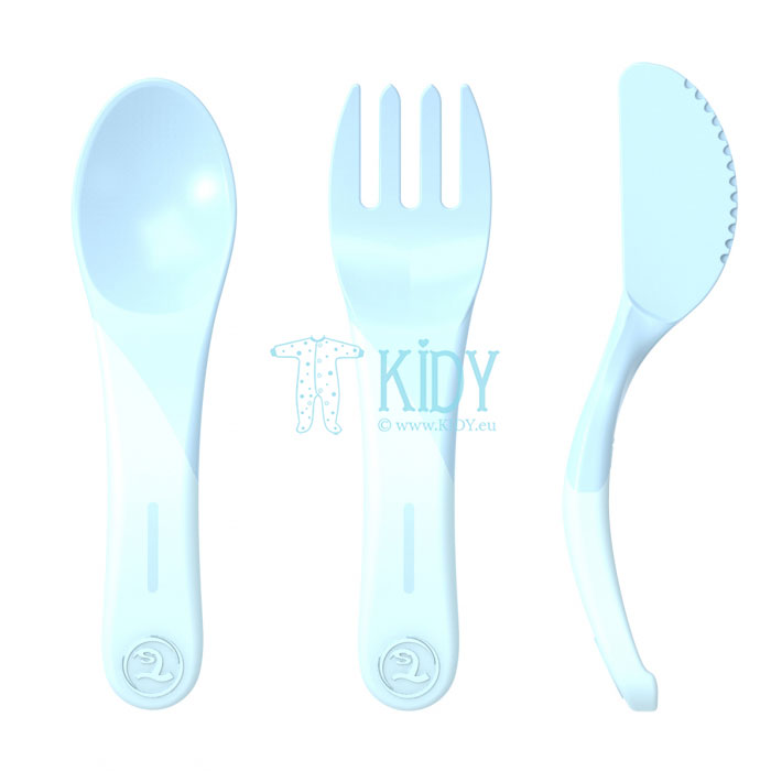 3pcs blue LEARN CUTLERY set