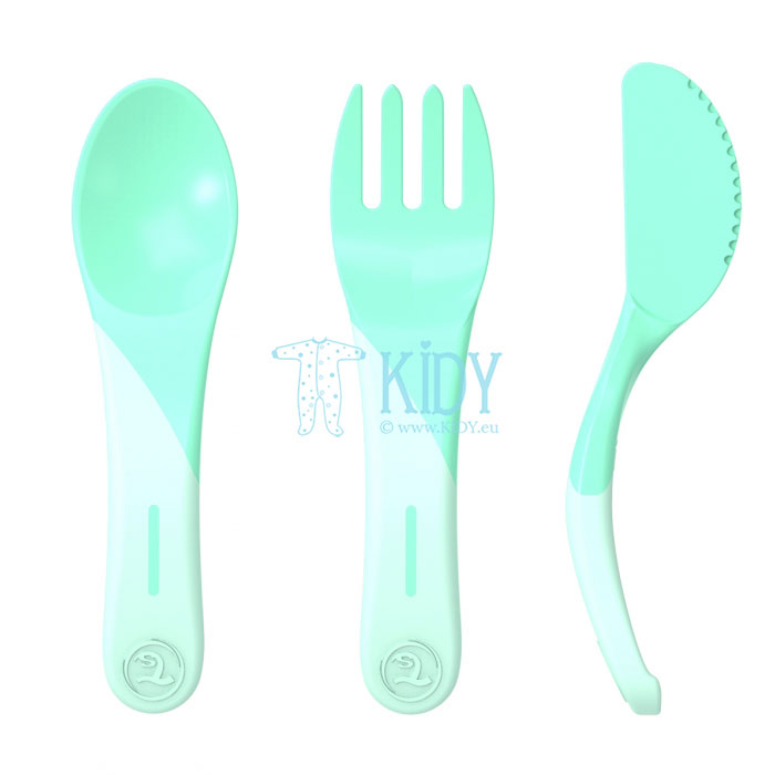 3pcs green LEARN CUTLERY set