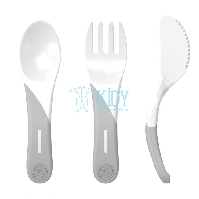 3pcs white LEARN CUTLERY set