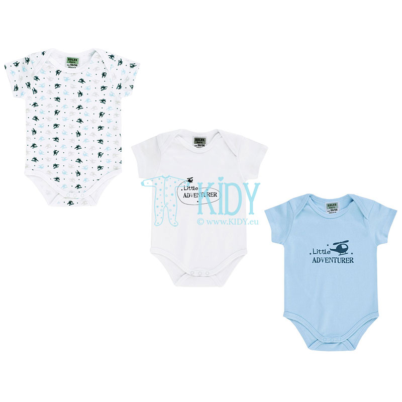 3 pcs LITTLE ADVENTURER shortsleeved bodysuit set