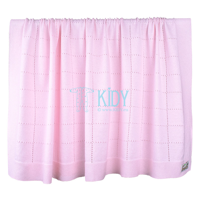 Pink baby knitted blanket made of organic cotton