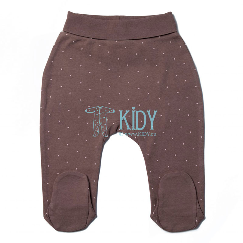 Brown dotted PINKY FLAMINGO footed pants