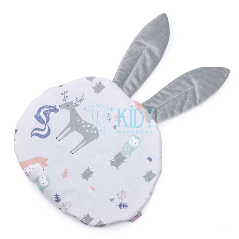 Grey Woodland pillow with ears