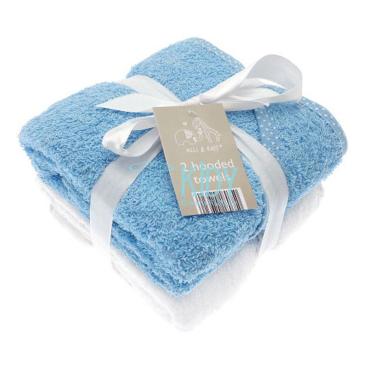 Elli & Raff set: 2 hooded towels (blue and white)
